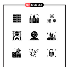 Pictograph set 9 simple solid glyphs mage vector