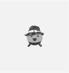 pinguin mafia symbol logo on grey background vector image