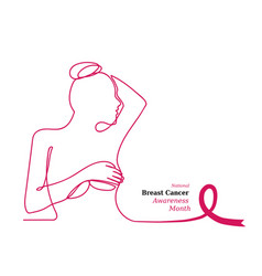 pink ribbonwomens breast outline vector image