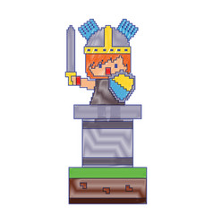 pixel character knight with sword and shield video vector image