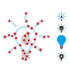 Polygonal network eco light bulb icon with virus vector