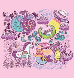 Print with fantastic creatures isolated on vector
