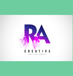 ra r a purple letter logo design with liquid vector image