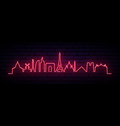 red neon skyline of paris city bright paris vector image