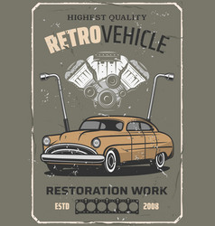Retro car repair auto mechanic service vector