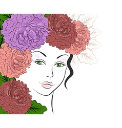 Romantic girl with floral hair vector image vector image