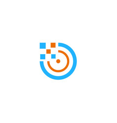 round digital technology logo vector image