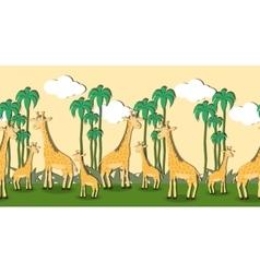 Seamless pattern with cartoon giraffes vector