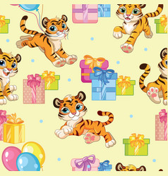 Seamless pattern with cartoon tigers and gifts vector