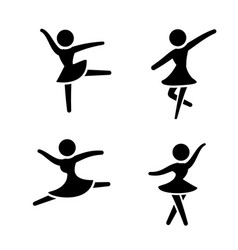 set ballet icons in silhouette style vector image