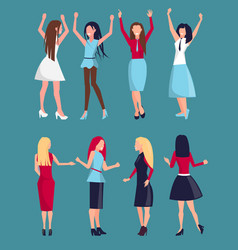 set different women icons vector image