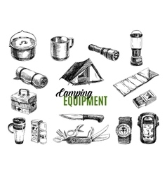 Set highly detailed hand drawn camping vector