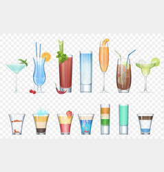 Set of realistic alcoholic cocktails vector