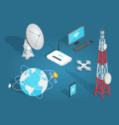 Set of wireless connection in flat cartoon style vector