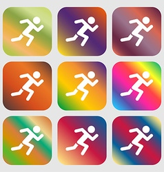 simple running human icon sign Nine buttons with vector image