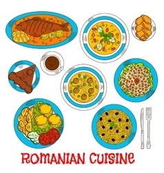 Sketches of romanian cuisine dishes vector