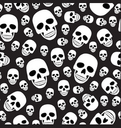 skull seamless pattern on black background vector image