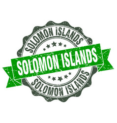 Solomon islands round ribbon seal vector