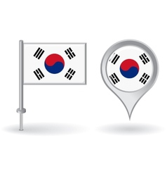 South Korean pin icon and map pointer flag vector