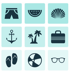 Sun icons set collection of trees conch vector