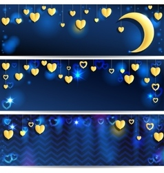 Three Backgrounds With Golden Hearts vector image vector image