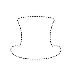 top hat sign black dashed icon on white vector image
