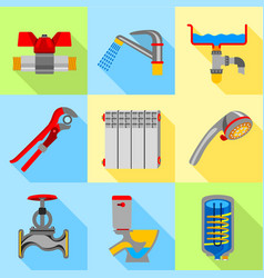 type of plumbing work icons set flat style vector image