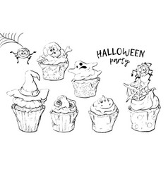 Variety of halloween cupcakes isolated vector