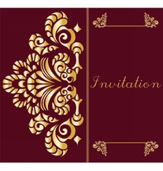 Vintage invitation card with ornament vector