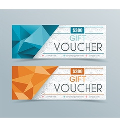 Voucher template with geometric background vector