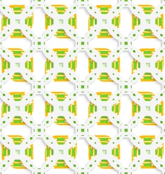 White perforated ornament with green orange vector