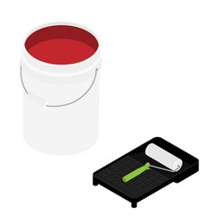 White plastic bucket with red color paint and vector