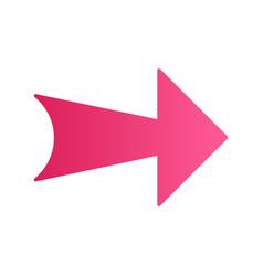 Wide pink arrow flat design long shadow color vector