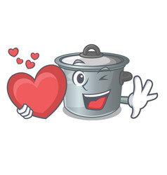 With heart cartoon stock pot used cooking food vector
