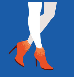 Women legs and feet with stylish colorful vector