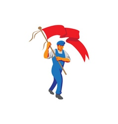 Worker Marching Flag Bearer WPA vector