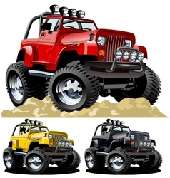 cartoon jeep one-click repaint vector image vector image