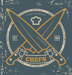 Chefs T-shirt print design with grunge vector image vector image