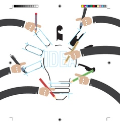 Hand With Pencils With Print Calibration Elements vector image
