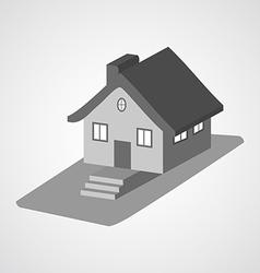 Monochrome 3d house cartoon icons isolated vector image