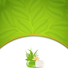 background for medical theme with green pill vector image vector image
