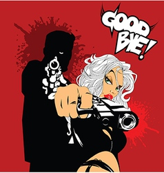 Blonde woman with gun vector image vector image