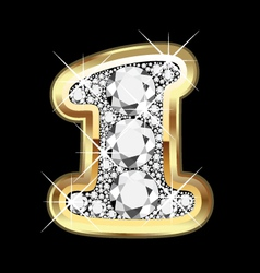 1 number gold and diamond vector image vector image