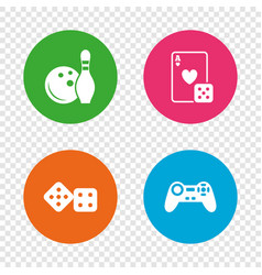 bowling and casino signs video game joystick vector image vector image