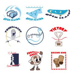 colorful sport doodle logos set vector image vector image
