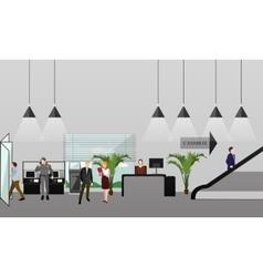 Horizontal banner with bank interiors vector image