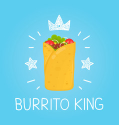 king burrito cartoon flat and doodle vector image vector image