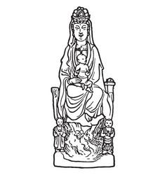 kuan-yin vintage vector image vector image
