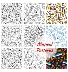 Patterns of musical instruments and music notes vector image vector image