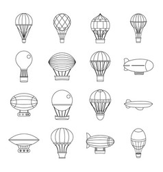 retro balloons aircraft icons set outline style vector image vector image